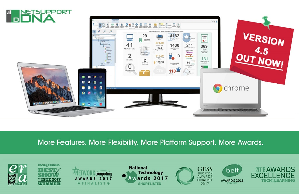 NetSupport DNA 4.5 out now – more platform support, more features, more awards!