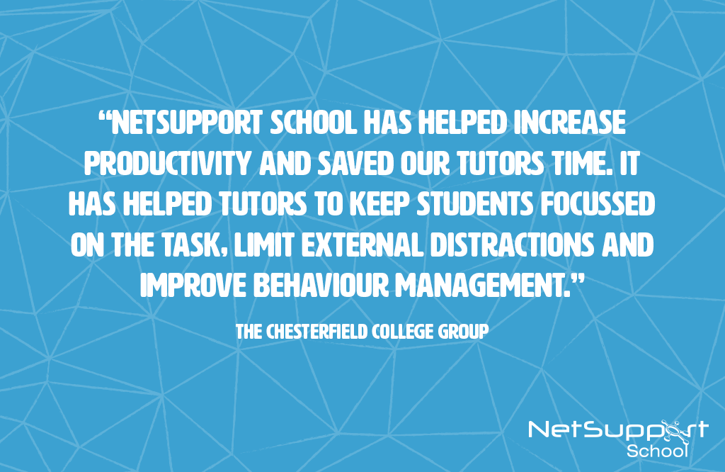 Chesterfield College Group reviews NetSupport School